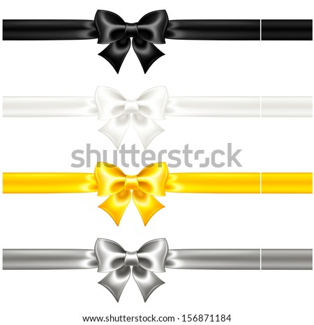 Vector illustration - collection of silk bows with ribbons. Created with gradient mesh. - stock vector