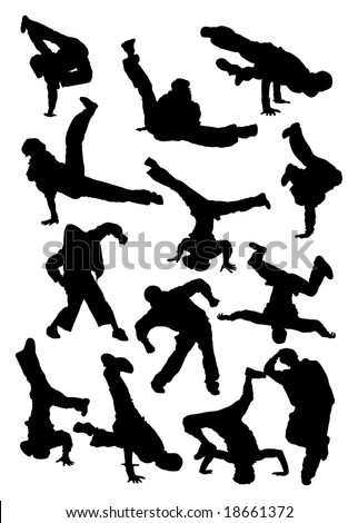 Vector illustration. Collection silhouette of  breakdancer - stock vector