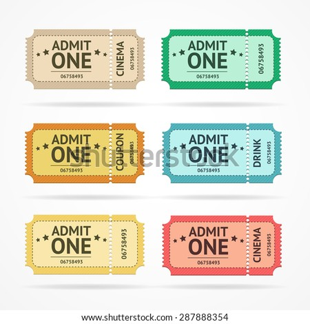 Vector illustration color ticket set  isolated on a white background. - stock vector