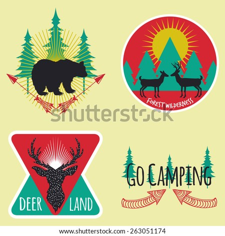 Vector illustration. Colored set of camping emblems, labels and logos with mountains, trees, deers and bear.  Hunting, traveling, sunrise, couple of deer, arrows and rays - stock vector