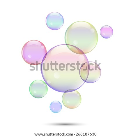 Vector illustration, colored soap bubbles isolated on a white background. - stock vector