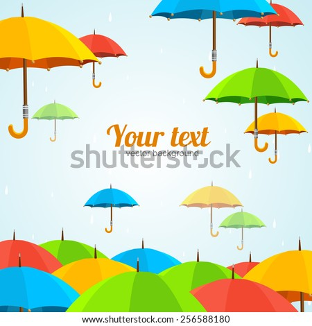 Vector illustration colorful umbrellas fly, place for your text. Flat Design - stock vector