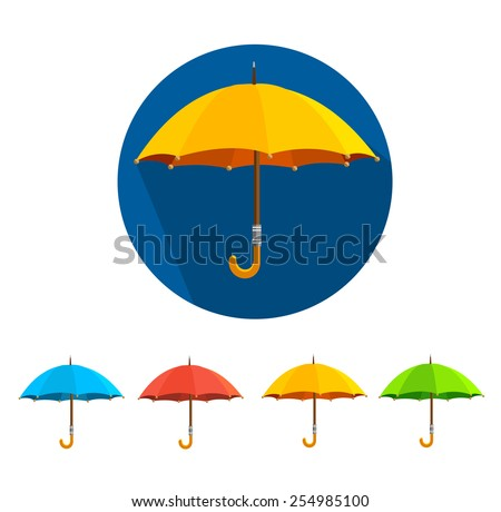 Vector illustration colorful umbrellas set isolated on white background. Flat Design - stock vector