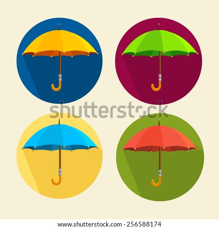 Vector illustration colorful umbrellas set isolated on white. Flat Design. Circle buttons - stock vector