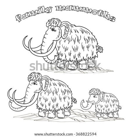 vector illustration, coloring book, contour, black and white illustration, a mammoth family, animal set, ice age, art - stock vector