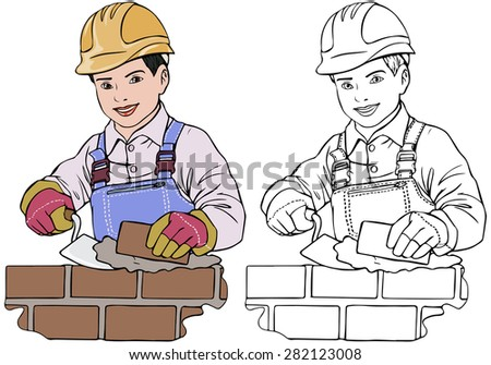 Vector illustration, coloring drawing, builder boy, cartoon concept, white background.