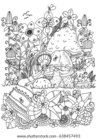 Vector Illustration Coloring Page Anti Stress For Adults And Children Girl Sleeps In Flowers