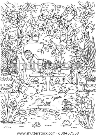 Vector Illustration Coloring Page Anti Stress For Adults And Children Mother Baby On A