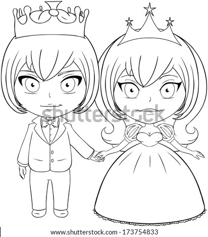 Vector Illustration Coloring Page Prince Princess Stock Vector ...