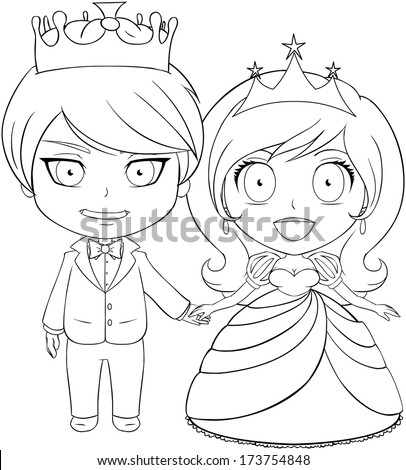 Vector illustration coloring page of a prince and princess holding hands and smiling.  - stock vector