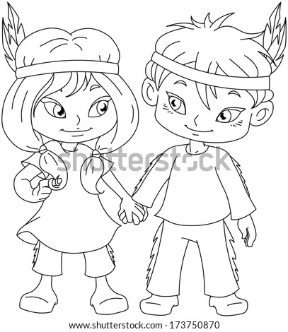 Vector illustration coloring page of children dressed as Indians and holding hands for Thanksgiving or Halloween.  - stock vector