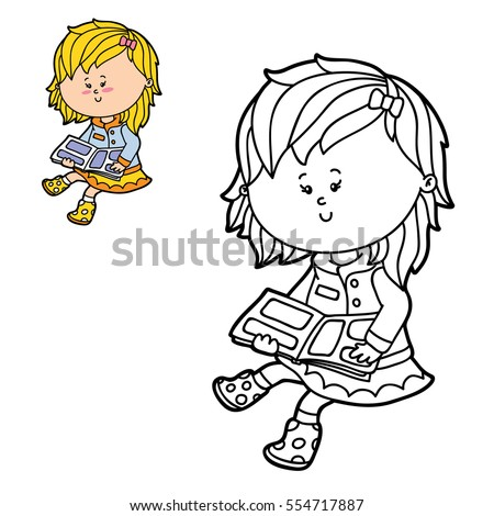 Vector Illustration Coloring Page Of Happy Cartoon Girl For Children And Scrap Book