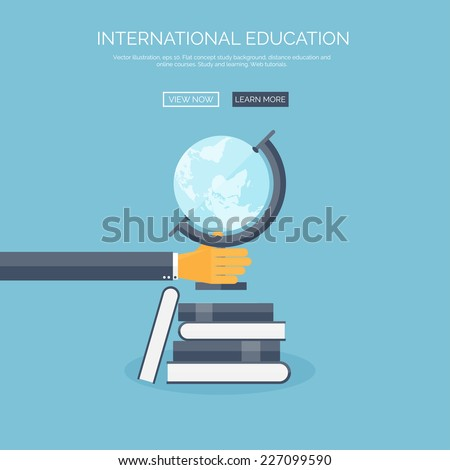 Vector illustration. Concept background with hand, globe and books, global education, online courses. - stock vector