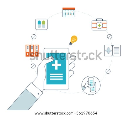 Vector illustration concept for healthcare, medical help and research. Online medical diagnosis and treatment. Medical first aid. Online medical services. Healthcare worker. Emergency call