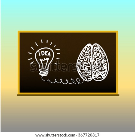 Vector illustration. Concept idea. Brain and lamp is connected. Drawing on the blackboard