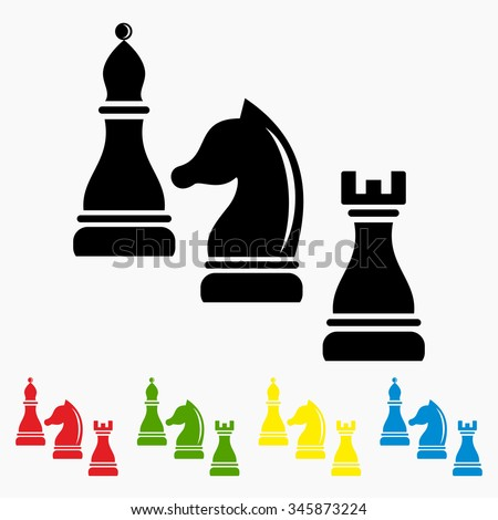 Vector illustration. Concept of business strategy with chess figures.  - stock vector
