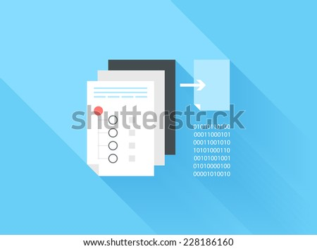 Vector illustration concept of data sharing and copying isolated on blue background with long shadow. - stock vector