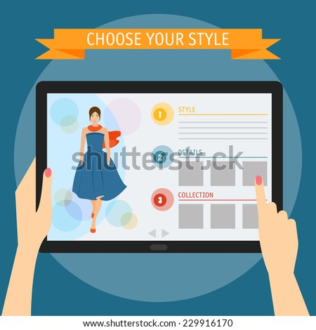 Vector illustration concept of hands holding modern digital tablet and pointing on a screen with fashion website. Flat design style, isolated on bright stylish color background with slogan - stock vector