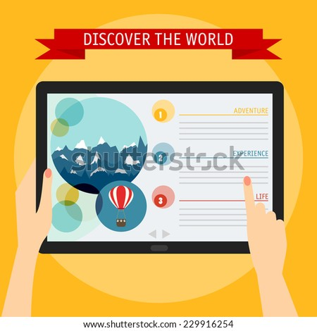 Vector illustration concept of hands holding modern digital tablet and pointing on a screen with travelling website. Flat design style, isolated on bright stylish color background with slogan - stock vector