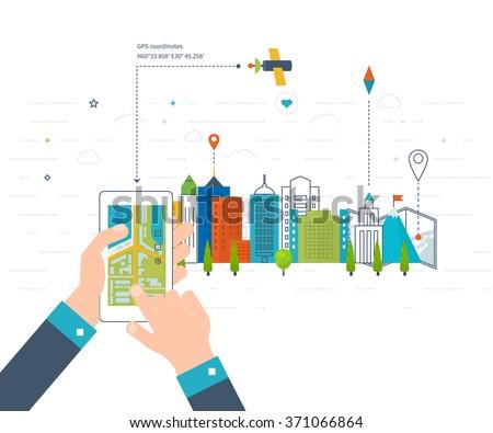 Vector illustration concept of  holding smart-phone with mobile navigation. Flat design modern vector illustration icons set of urban landscape and city life. Mobile navigation map. Building icon. - stock vector