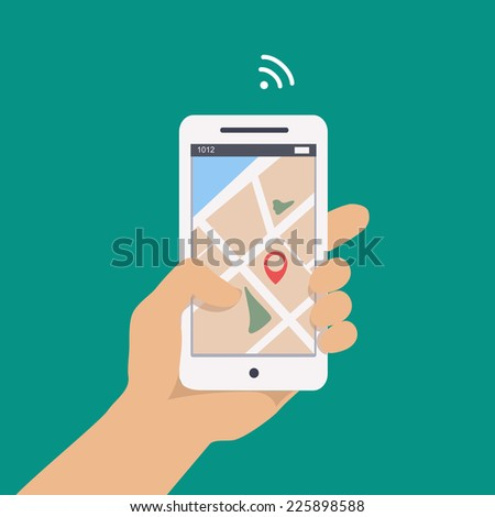 Vector illustration concept of man  holding smartphone in hand with gps navigation. - stock vector