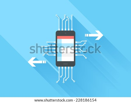 Vector illustration concept of mobile data processing isolated on blue background with long shadow. - stock vector