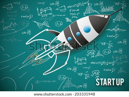Vector illustration concept of new business project start-up development and launch a new innovation product. - stock vector