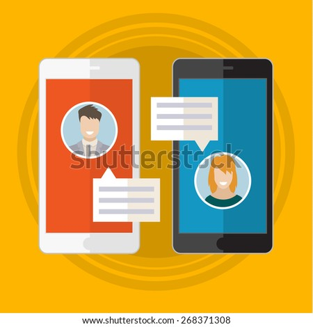 Vector illustration concept of online chat man and woman app icons in flat style - stock vector