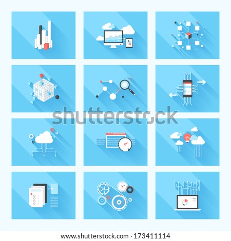 Vector illustration concept of SEO optimization, data analysis and storage, cloud computing and program coding isolated on blue background with long shadow. - stock vector