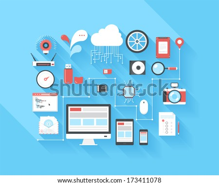 Vector illustration concept of SEO optimization, data analysis and storage, cloud computing, social media and program coding isolated on blue background with long shadow. - stock vector