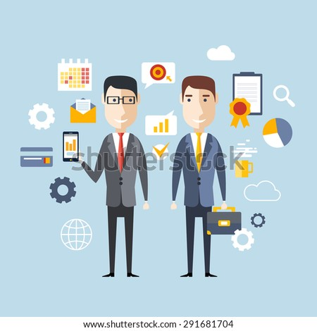 Vector illustration concept of successful partnership, business people cooperation agreement, teamwork solution of two businessman  - stock vector