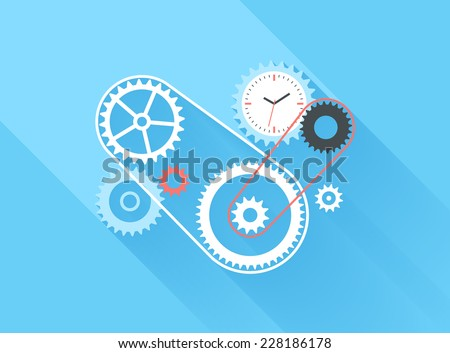 Vector illustration concept of time management isolated on blue background with long shadow. - stock vector