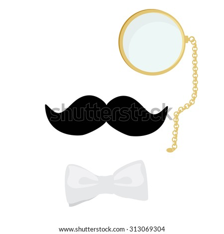 Vector illustration concept of vintage style silhouette people heads with mustache, monocle and bow tie. Gentleman symbol - stock vector