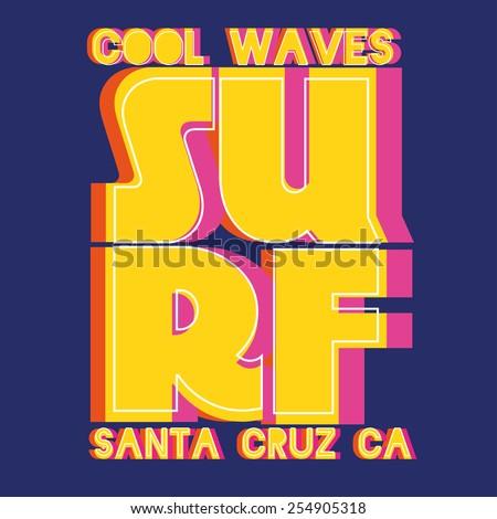 vector illustration cool wave surfing at Santa Cruz in California, design for t-shirts,vintage design - stock vector