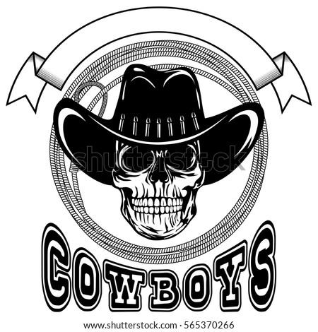 vector illustration cowboy skull hat lasso stock vector 565370266