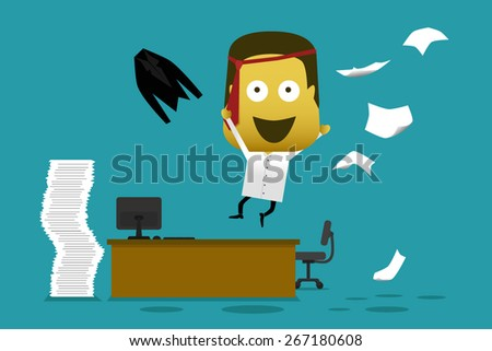 Vector illustration crazy employee jump from his desk throwing documents,  - stock vector