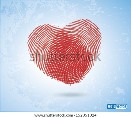 Vector Illustration / Creative Concept - Fingerprints making Heart Symbol - Background for showing Love, Relationship, Husband & Wife, Boyfriend & Girlfriend. - stock vector