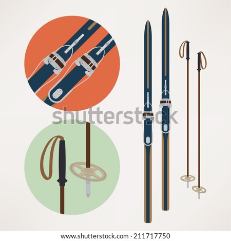 Vector illustration: cross country old fashioned skis with classic cable or bear trap bindings and ski poles | Touring skiing equipment: skis and poles - stock vector