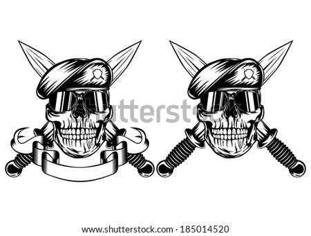 Vector illustration crossed daggers and skull in beret - stock vector
