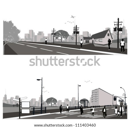 Vector illustration.Crowd of people walking on a street. - stock vector