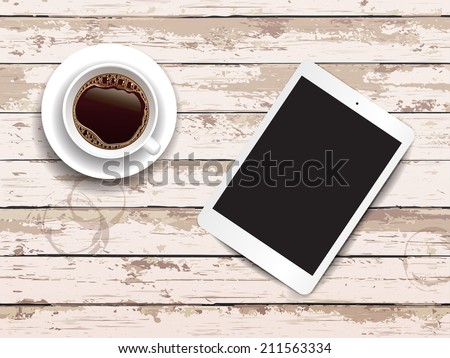Vector illustration. Cup of coffee and empty screen digital tablet on a wooden table. Wooden background - stock vector
