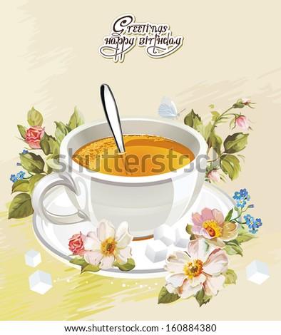 Vector Illustration cup of tea - stock vector