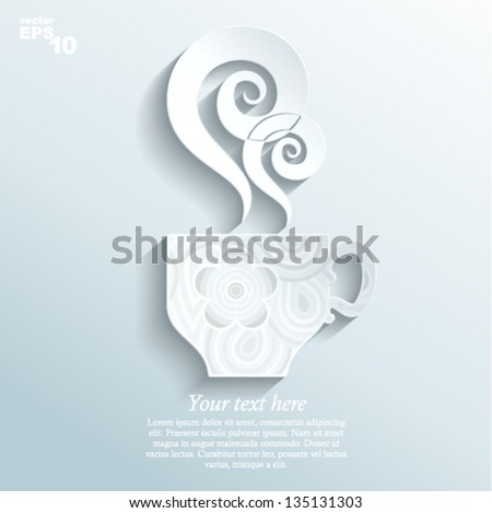 Vector illustration - cup with tea (made of paper)