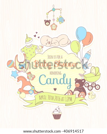 Vector illustration  Cute baby shower invitation for boy or girl, party invitation, template, card
