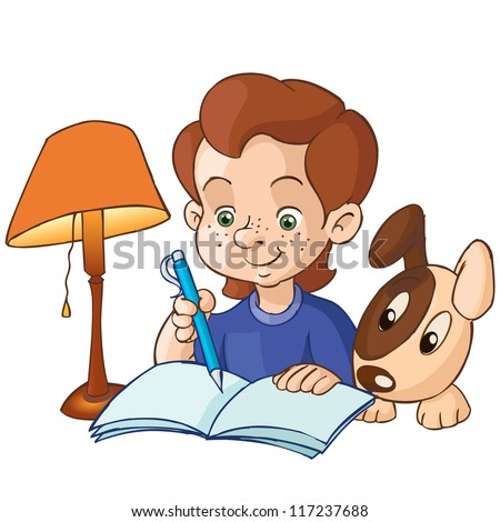 Vector illustration, cute boy doing homework with his friend, cartoon concept, white background. - stock vector