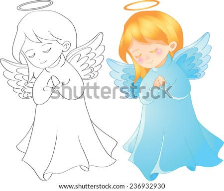 Vector illustration cute christmas angel character tell prayer, outline page for coloring book - stock vector