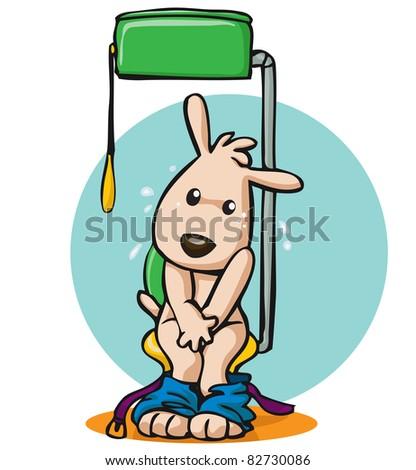 Vector illustration, cute dog in bathroom, card concept. - stock vector