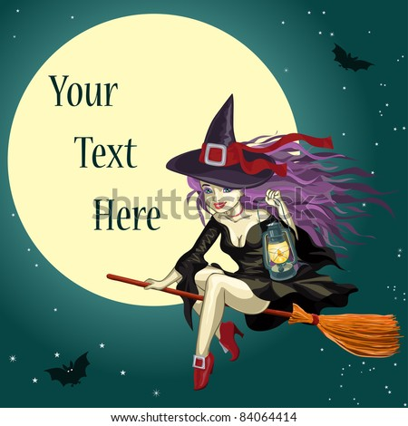 Vector illustration, cute Halloween witch, cartoon concept. - stock vector