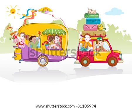 Vector illustration, cute kids going in a trip, card concept. - stock vector
