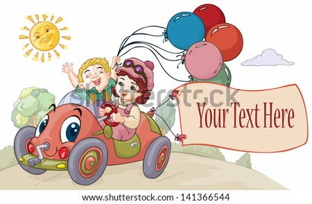 Vector illustration, cute kids going on a trip, banner concept. - stock vector